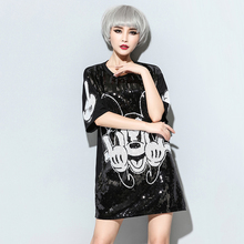 Hippie Mickey Mouse Sequin Dress Casual O-Neck Half Sleeve Loose Black Cartoon Print Dress Female New Look Graffiti Dress