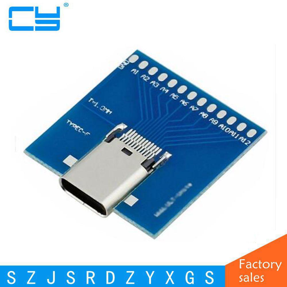 Standard USB-C USB 3.1 Type C Female Soldering Test Socket PCBA Board Adapter 10Gbps Type-C Welding testing PCB Full 24 pin