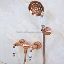 Wall Mounted Red Copper Antique Bath Faucets Bathroom Basin Mixer Tap Crane With Hand Shower Head Shower Faucet Sets Bna301