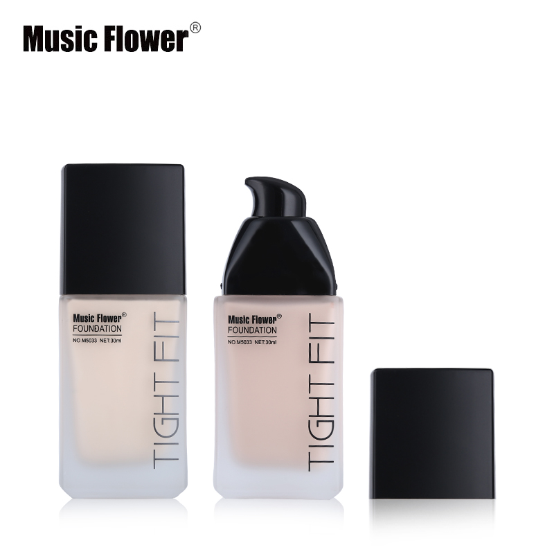Music Flower Face Makeup Base Oil-Control Full Coverage Liquid Foundation Tight Fit Skin Tone Concealer Velvety Flawless Finish