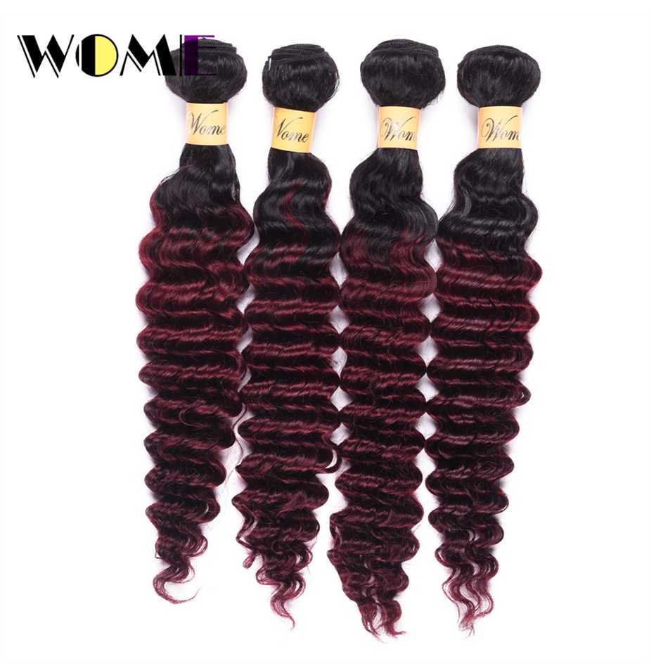 Wome Dark Root T1b/99J Burmese Hair Weave Bundles Ombre Human Hair Extensions Black to Red Wine Color Deep Wave 4PCS