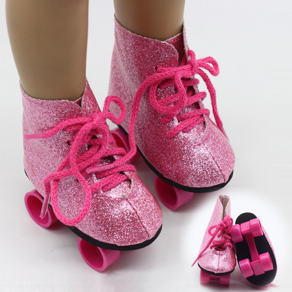 Doll Roller Skates for 18 inch American Doll Boots for 43cm Baby Reborn Dolls Fashion Gifts for Girl Doll Accessories(China)