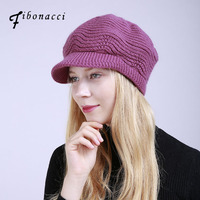Fibonacci Womens Beret Hats Crochet Knit Winter Hats Vintage Peaked Cap Rabbit Fur Knitted Berets Soft