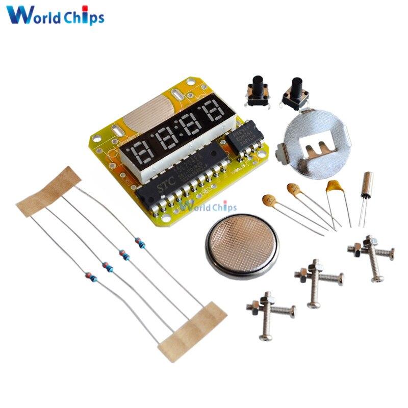 Digital Watch Electronic Clock Kit Single-chip LED Watches Electronic Clock KIT DIY LED With Transparent Cover DIY Kit