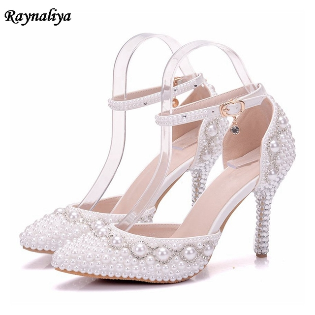 2018 Summer White Pearl Diamond Bride Shoes High Heels Ankle Strap Shoes  Female Sandals Stage Sweet Wedding Shoes XY-B0083 ec3d36b5aa7d