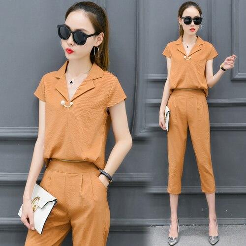 Sommer Mode Trainingsanzug Für Frauen Westlichen Stil frauen Trainingsanzüge Elastische Taille Chiffon Zweiteilige Set Kragen Pullover