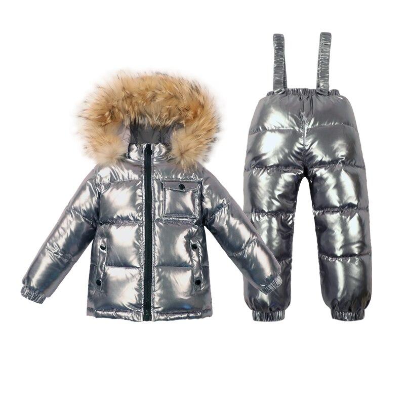 -30 Russische Winter Baby Eendendons Waterdichte Kleding Sets Kids Real Bontkraag Hooded 2 Stuk Set Meisjes Warm Outdoor Skipakken