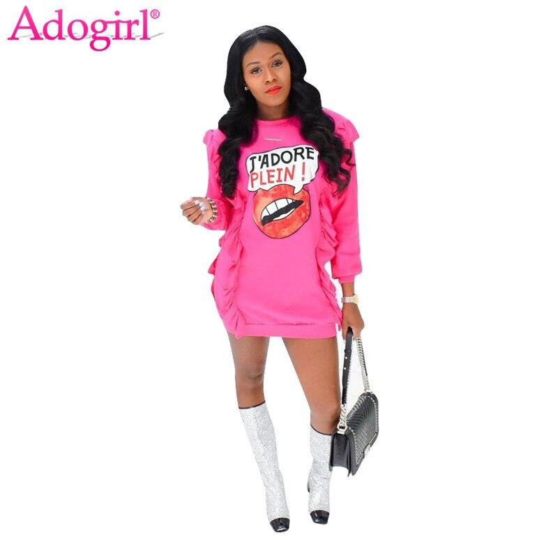 Adogirl Red Lip Print Ruffle Long Sleeve Sweater Dress 2018 New Fashion Women Bodycon Mini Dresses Spring Autumn Casual Vestidos