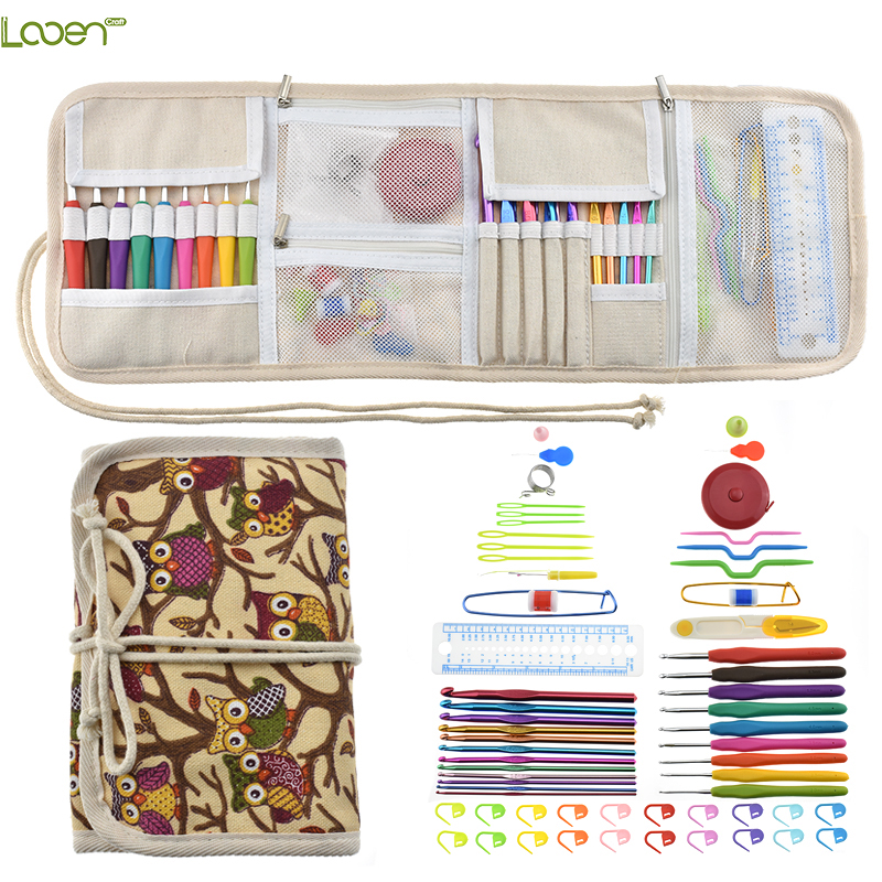 Looen Crochet Hook Set 9pcs Ergonomic Handles 2.0-6.0mm Crochet Needles Scissors Needles Sewing Accessories With Case Organizer