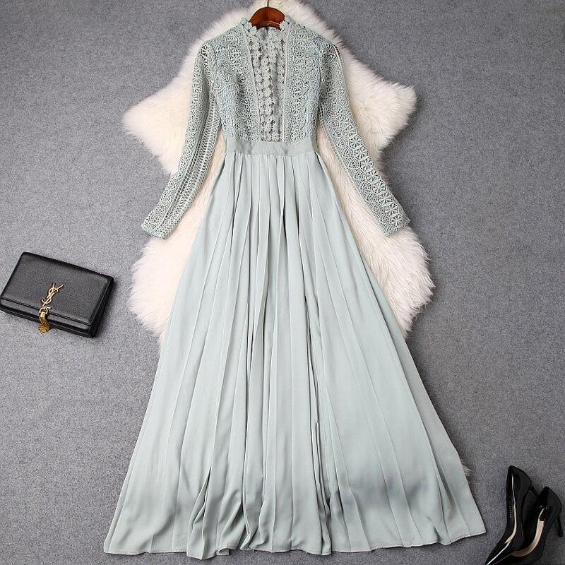 Embroidery dress Luxury Designer 2019 NEW spring summer Women elegant Ankle Length party Dress Full sleeve