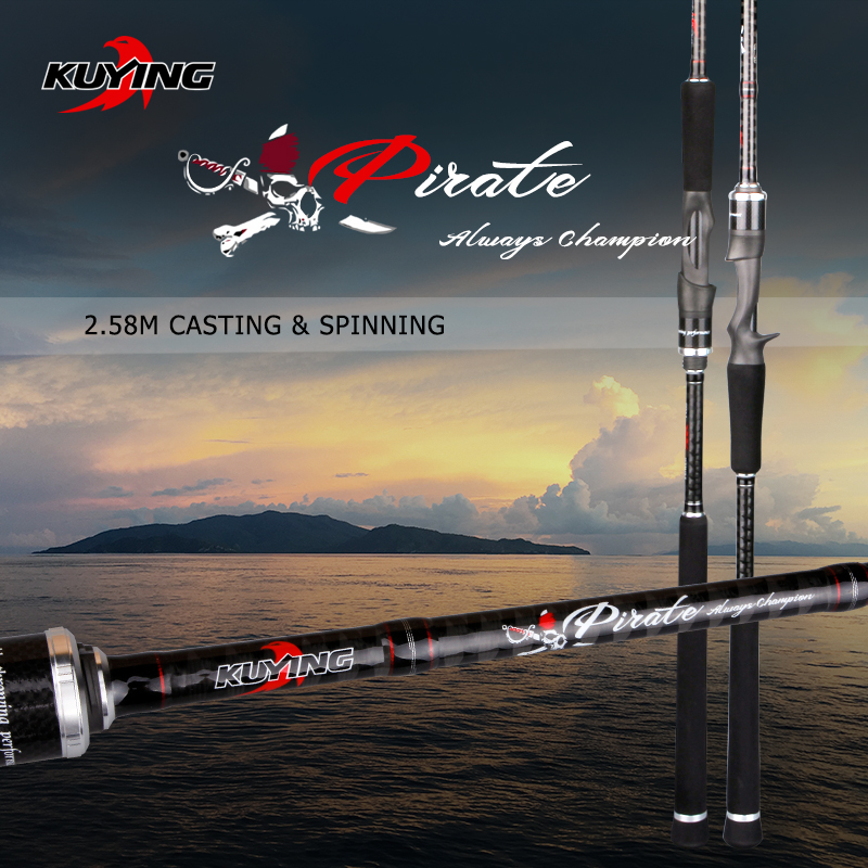 KUYING Pirate 2.58m Casting Spinning M Lure Fishing Rod Fish Cane Pole Stick FUJI Spare Parts Carbon Fiber Medium Fast Action free shipping by eems 2 10m kuying spinning fishing rod sea rod powerful bait casting carbon spining super hard fishing lure rod