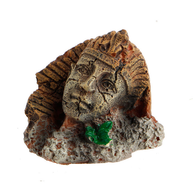 Kunstmatige Hars Oude Egyptische Farao Sphinx Ruïnes Romeinse Stijl Gezicht Pijler Standbeeld Aquarium Decoraties Aquarium Ornament