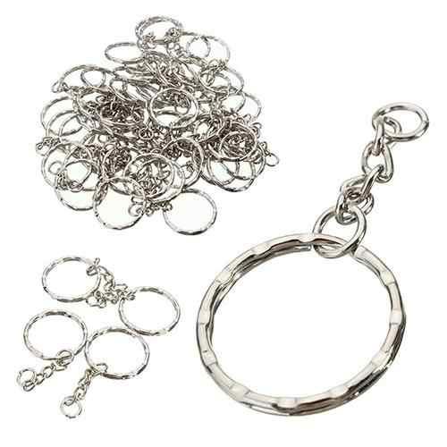 2019 diy 10 pçs prata tom keyring blanks chaveiros anéis rachados com 4 link chain quente novo