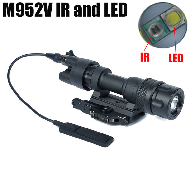M952V IR Scout Tactical Weapon Light LED White Light Output Waterproof Remote Switch Pressure Flashlight QD Mount Picatinny Rail