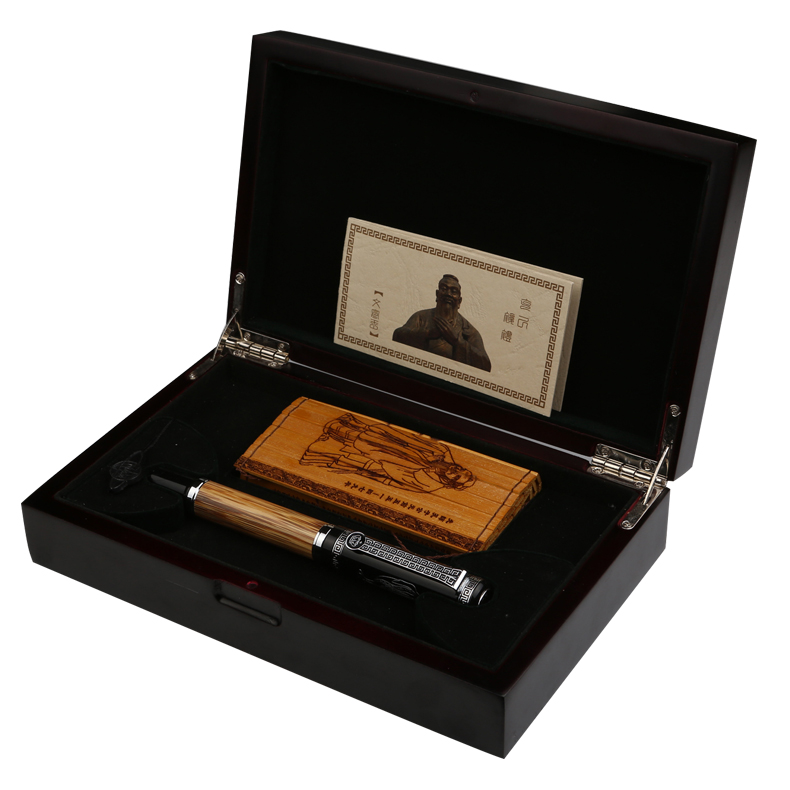 Duque Clássico confúcio série de Bambu do Metal 0.7mm Iridium Nib Fountain Pen com Caixa de Presente de Luxo Original de Tinta Canetas para Presente