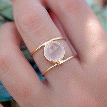 Boho Female Big Moonstone Ring Unique Style Silver Gold Colo
