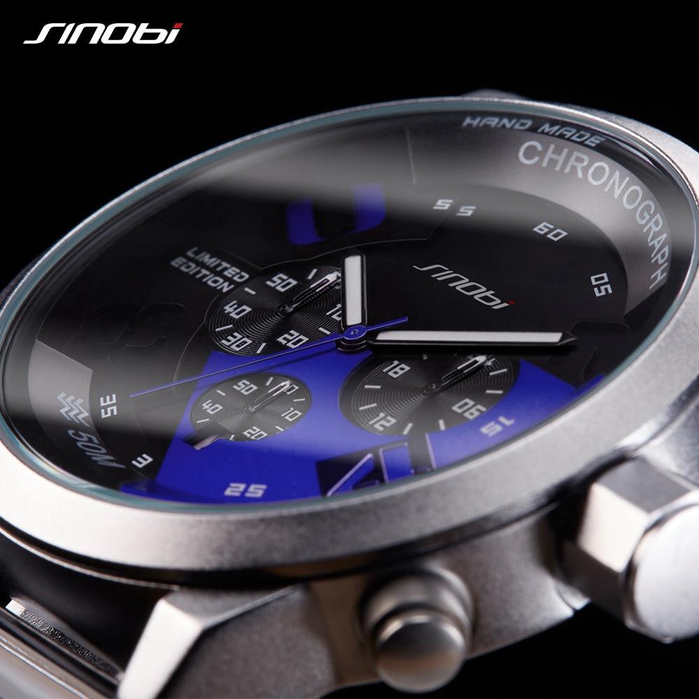 Men's Sports Watches Waterproof Full Steel Wristwatch Chronograph Casual Male Quartz Clock Outdoor Montre Homme SINOBI brand стоимость