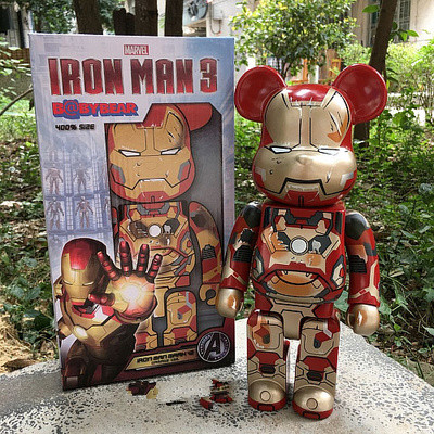 Bearbrick400% Bearbrick Be@rbric Be@rbrick Movie Iron Man  PVC Collectible Model Toy With Retail Box 28CM  Fashion Toy Gifts avengers movie hulk pvc action figures collectible toy 1230cm retail box