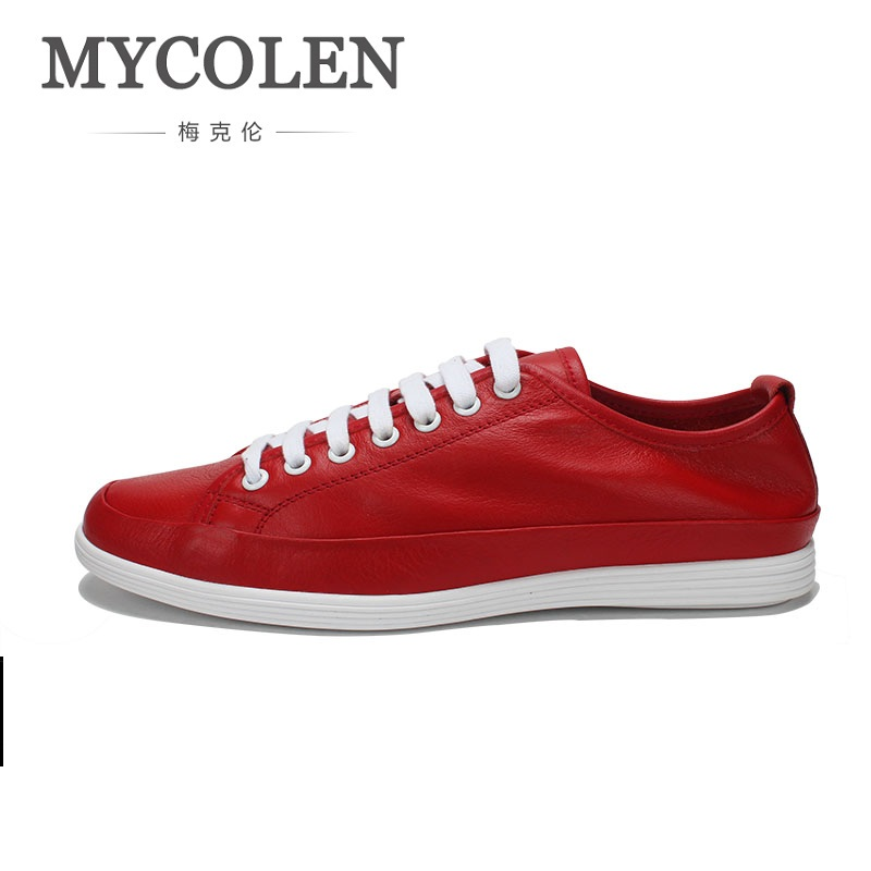 MYCOLEN Flats Shoes High Quality Genuine Leather Men Casual Shoes Fashion Lace-Up Breathable Male Shoes Real Leather Men spring autumn fashion men high top shoes genuine leather breathable casual shoes male loafers youth sneakers flats 3a