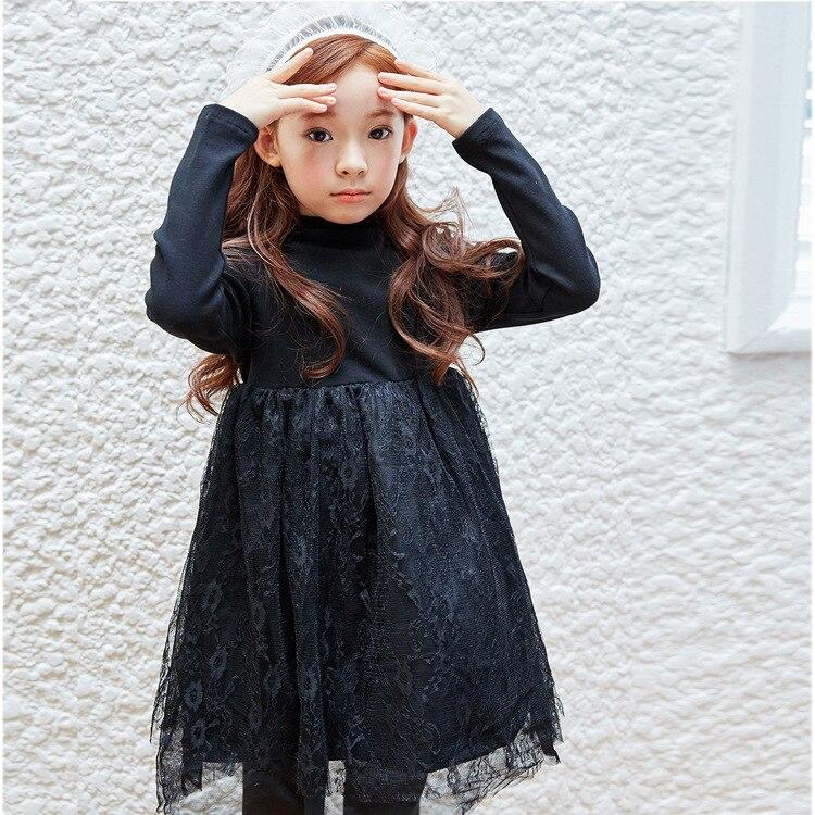 Autumn Girls Dresses Warmer Plus Vevel Winter Dress 4,6,8,10,12,14 years old Princess Floarl Lace Kids Girl Dress Clothes girl