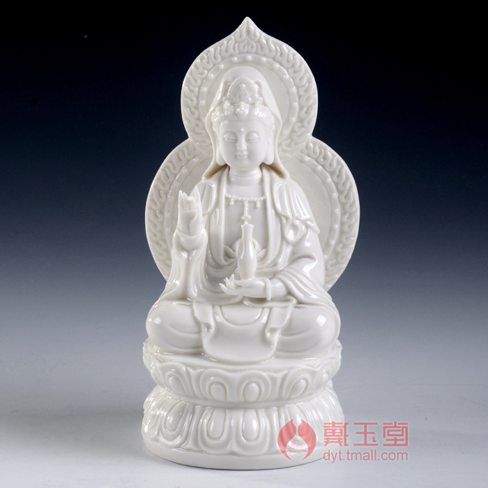 Dai Yutang to Tibetan Kwan-Yin Buddha ceramic household equipment dedicated to decoration/7 inch Saha, Trinity D21-07P