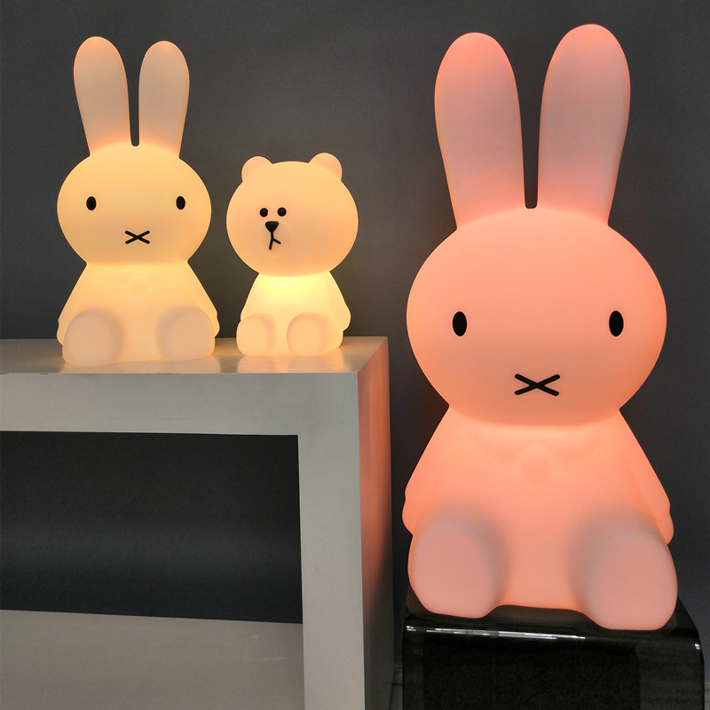 Ins Hot H50CM/H30CM USB Rechargeable Rabbit Brown Bear LED Night Light children Multicoloured Bedside Lamp nijntje lamp