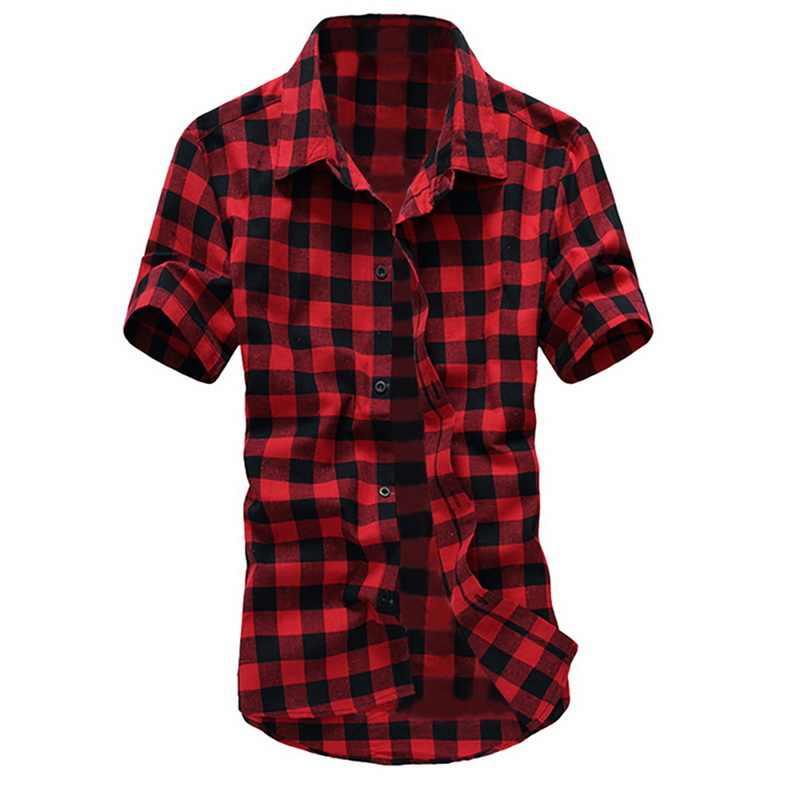 2019 мода плед печати Для мужчин, классические рубашки с отложным воротником, рубашка футболка с длинными рукавами Повседневные мужские рубашки тонкая на кнопках в уличном стиле