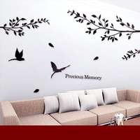Romantic crystal wall stickers tv wall stickers bird rustic