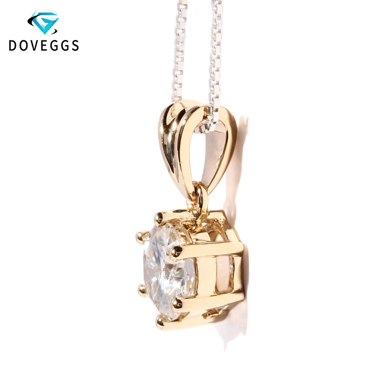 DovEggs 18K 750 Yellow Gold 1ct Carat F Color Lab Grown Moissanite Solitaire Slide Pendant for