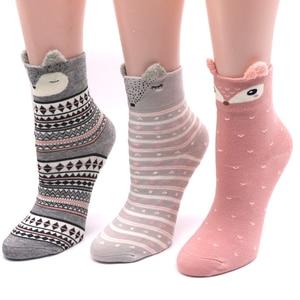 Image 2 - 2Pair Cotton Women Socks 3D Cartoon Chrismas Sock Funny Colorful Pattern Winter Fashion Female Socks Striped Warm Sock Animal