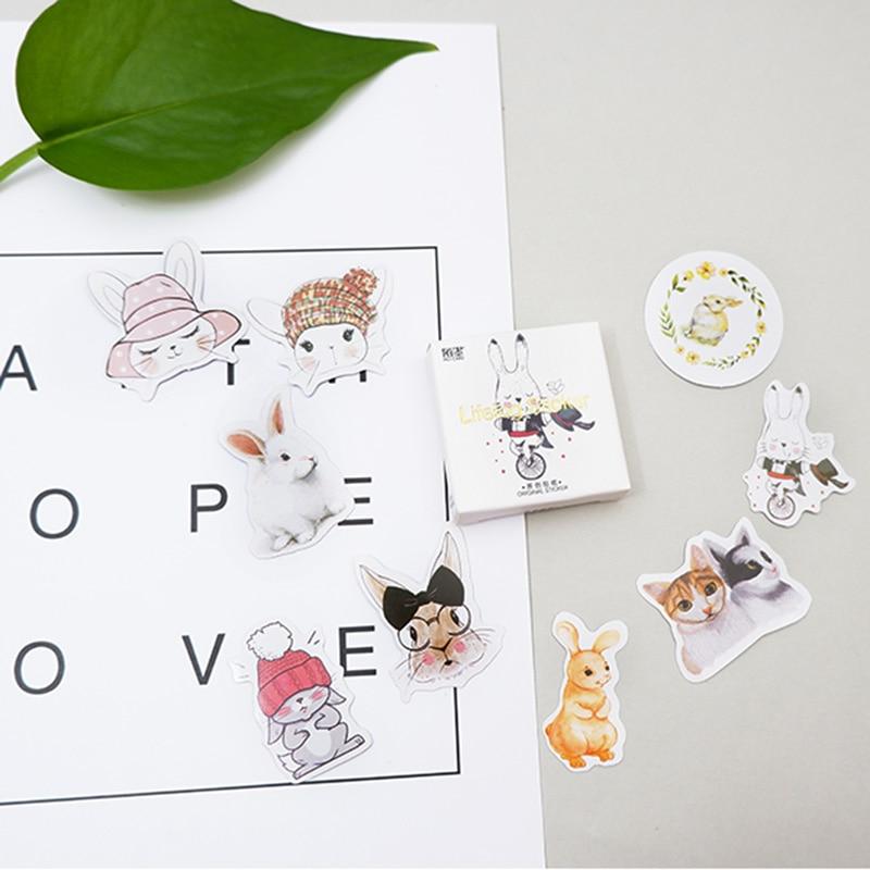45 pcs/pack Little rabbit paper sticker DIY diary album decoration stickers scrapbooking planner label Scrapbook
