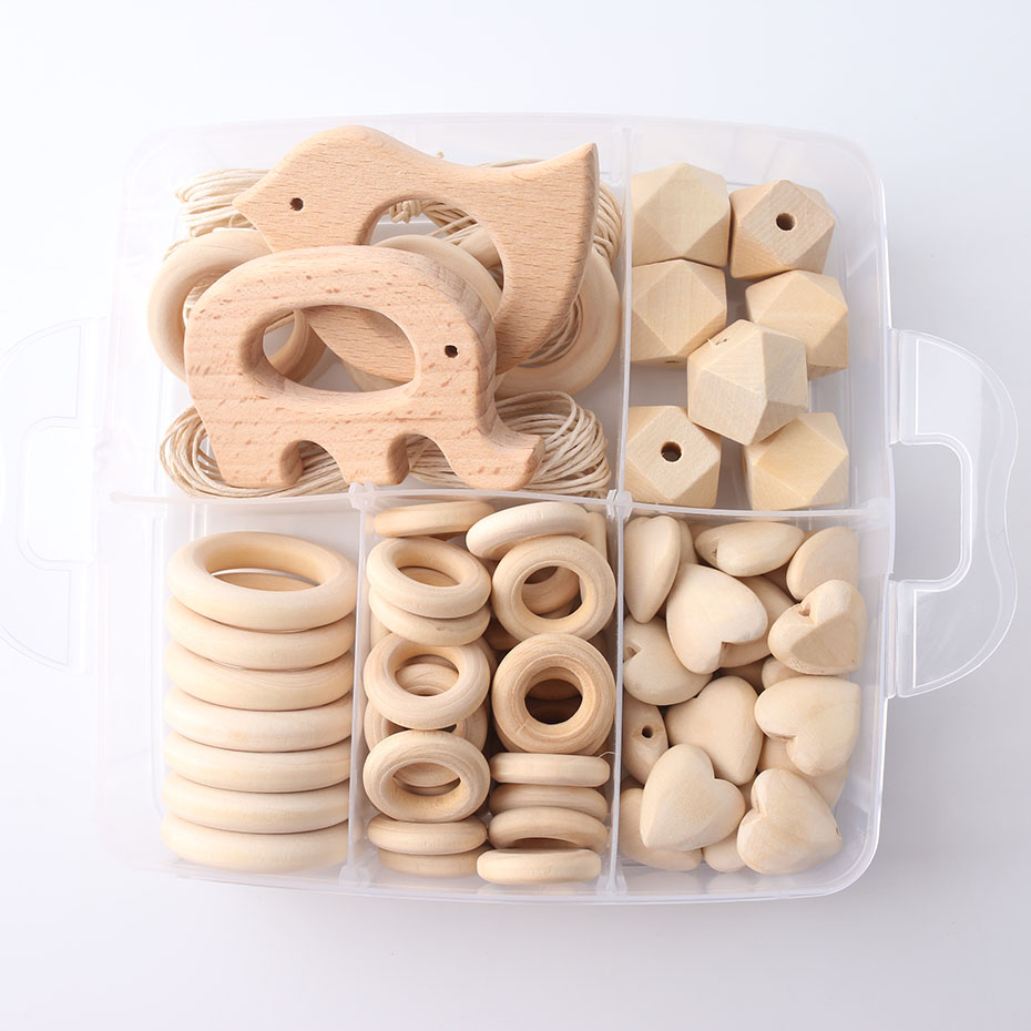 1set Wood Beads Animal Rattle Organic Teething Toys Wooden Toys BPA Free DIY Necklace Bracelet Baby Nursing Accessories