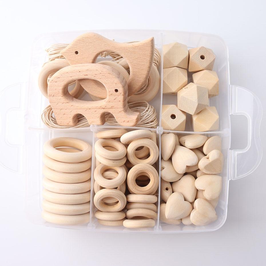 1set Wood Beads Animal Rattle Organic Teething Toys Wooden Toys BPA Free DIY Necklace Bracelet Baby Nursing Accessories