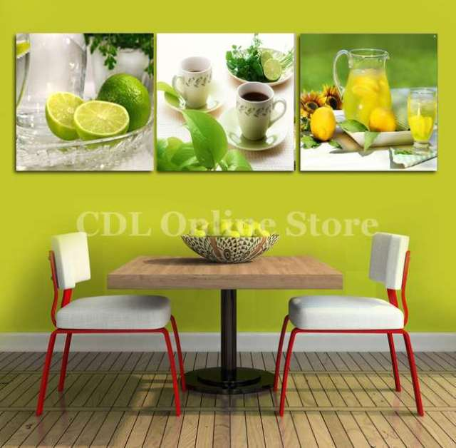 Triptych lemon fruit green canvas painting modern wall paintings for ...