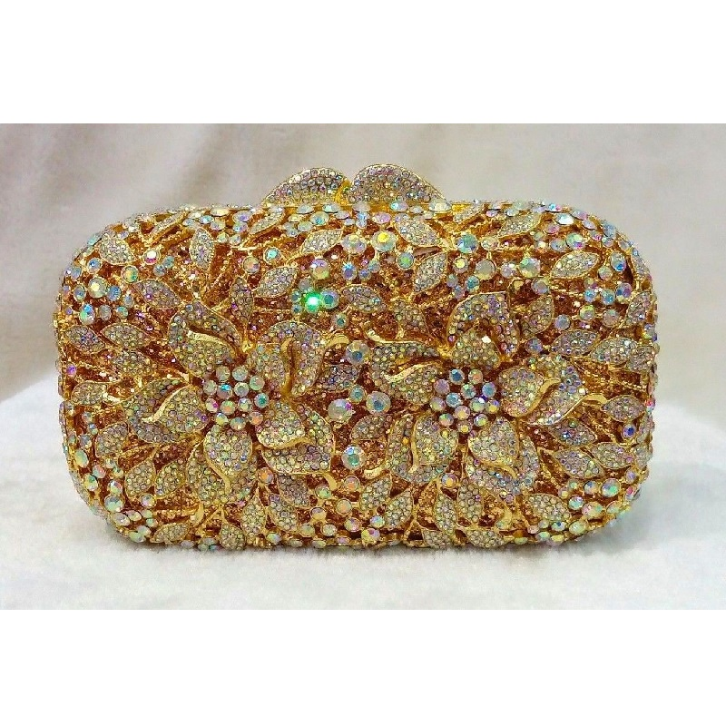 #8355 WhiteAB Crystal Flower Floral Bridal Party hollow Golden Metal Evening purse clutch bag box handbag case