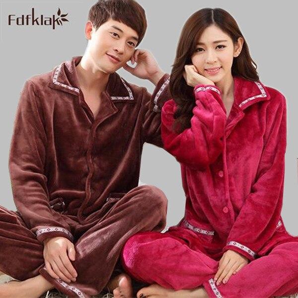 High Quality Autumn Winter Couple Flannel Pajamas Set Long Sleeve Sleepwear Set Women And Men Pyjamas Turn-Down collar Plus Size