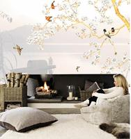 3d wallpaper for room Hand painted wall paintings of flowers and birds bathroom 3d wallpaper