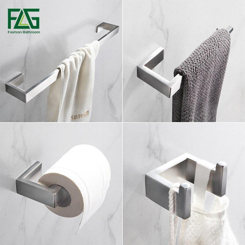 FLG 304 Stainless Steel Brushed Nickel Wall Mount Bath Hardware Sets Towel Bar Robe Hook Paper Holder Bathroom Accessories Set