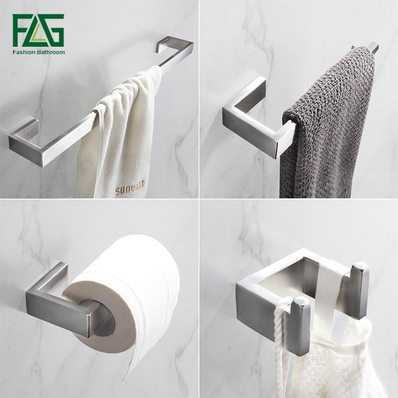 buy flg 304 stainless steel brushed nickel wall mount bath hardware sets towel. Black Bedroom Furniture Sets. Home Design Ideas