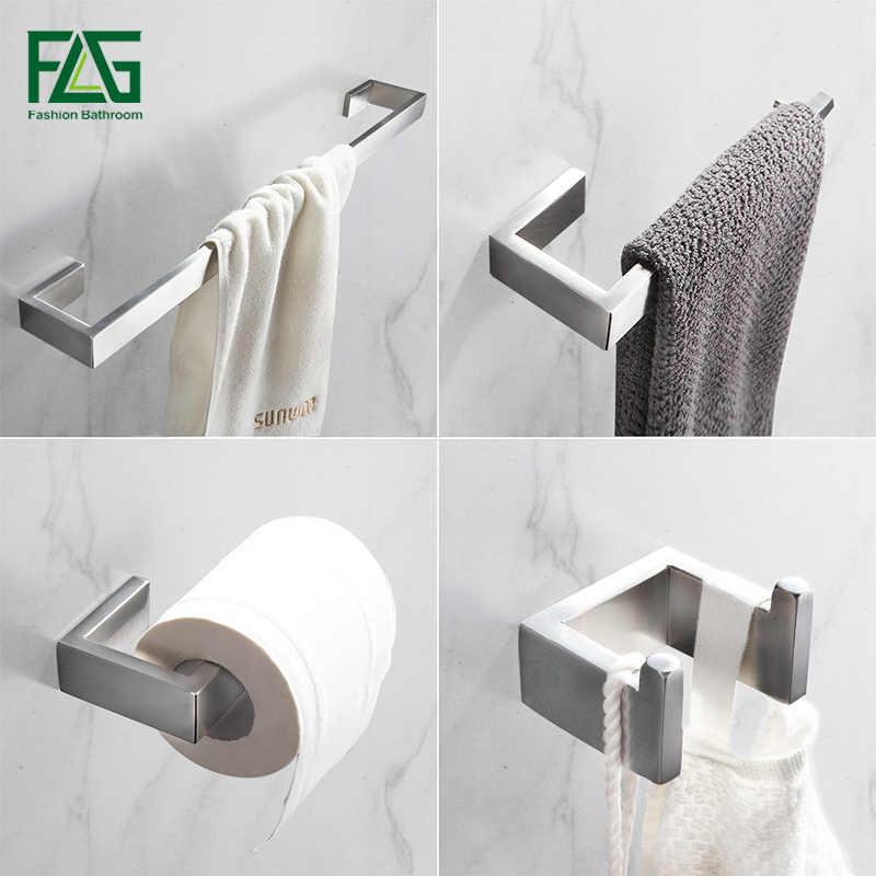 FLG 304 ze stali nierdzewnej matowy nikiel do montażu na ścianie zestawy sprzętu do kąpieli wieszak na ręczniki wieszak ścienny uchwyt na papier zestaw akcesoriów łazienkowych