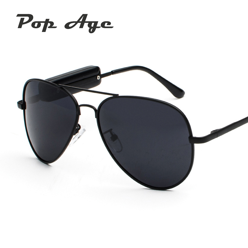 Pop Age 2018 New Fashion Pilot Driving Sunglasses Men Women Smart Stereo Bluetooth Sun glasses Calling Round USB earphone Glass