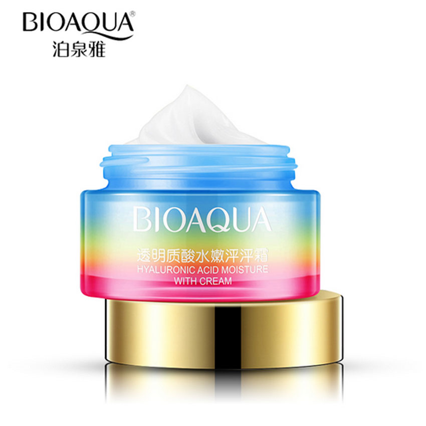 BIOAQUA Hyaluronic Acid Moisturizing Face Cream 50g Skin Care Acne Treatment Whitening Ageless Anti Winkles Lift Firming Beauty laikou multi effect hydrating emulsion hyaluronic acid moisturizing skin care whitening anti winkles lift firming facial lotion
