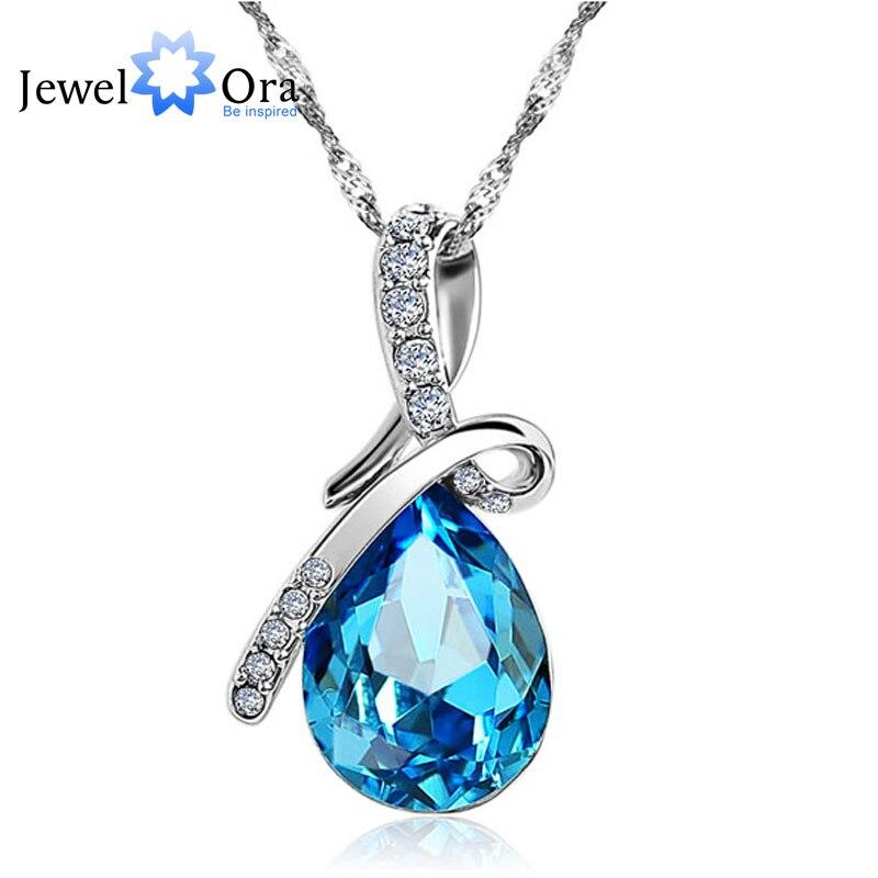 Fashion Blue Crystal Water Drop Pendant Necklace Rhodium Plated Zircon Necklaces & Pendants For Women (Jewelora NE100982) skull necklace raven skull