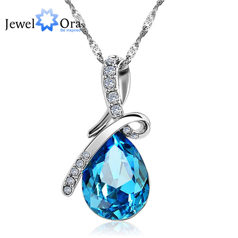 Fashion Blue Crystal Water Drop Pendant Necklace Rhodium Plated CZ Necklaces & Pendants For Women Gift Ideas (Jewelora NE100982)