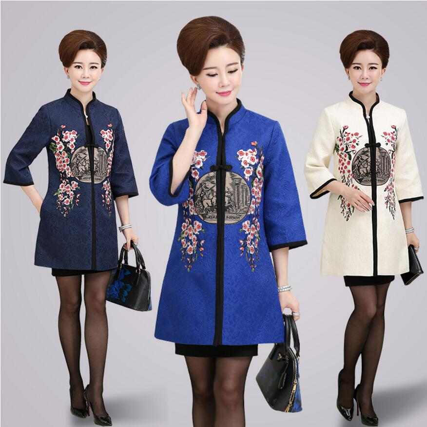 Women National Trend Chinese Style Top Spring Vintage Tang Suit Cheongsam Blouses Tops Long-Sleeve Chinese Style Elegant Tops