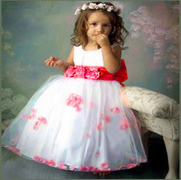 2015 New summer style  kids dancer flower summer fashion party baby girl clothes pink and rose pink 6 size dresses free shipping 6 size new 2014 summer baby