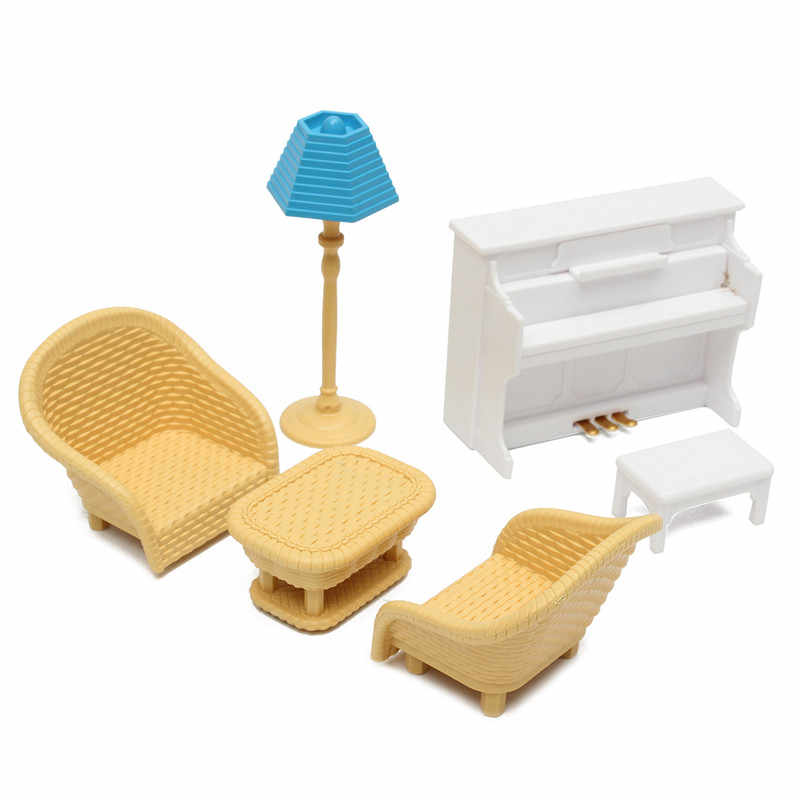 Hot Sale DIY Miniature Doll House Furniture Set Kitchen Living Bathroom kids Play Toy Decor For Children Dollhouse Toy