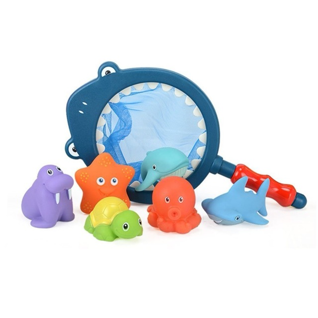 Shark fishing Bath Toy with Fishing Net Floating Animals Water Toy Baby Bathroom Pool Accessory for Kids 12 Months + 1