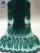 Beautifical green lace fabric french fabrics with sequins african 2018 style for women clothes 44N10