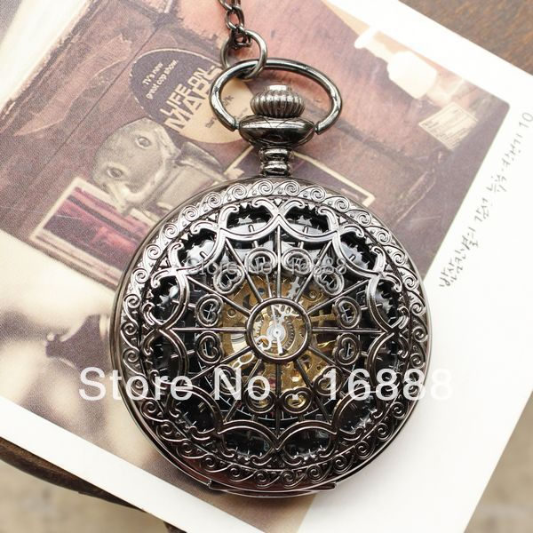 Men Vintage Pocket Watches Chain Necklace Antique Mechanical Hand Wind Skeleton
